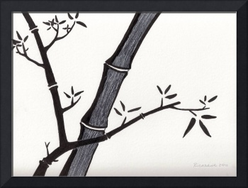 Zen Sumi Bamboo 2a Black Ink on Watercolor Paper