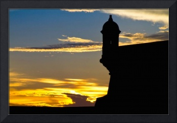 Silhouette of the Walls of El Morro Fort at Sunset