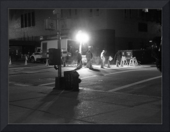 Men Working in New York at night