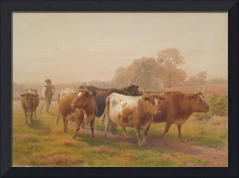 Cows in landscape, 1901, United Kingdom, by Henry