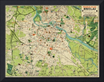 Vintage Map of Wroclaw Poland (1910)