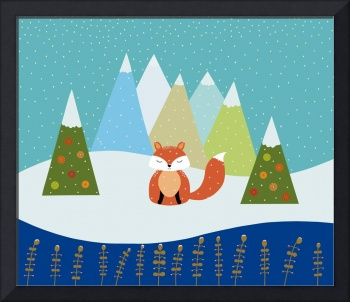 Cute Fox Winter Illustration