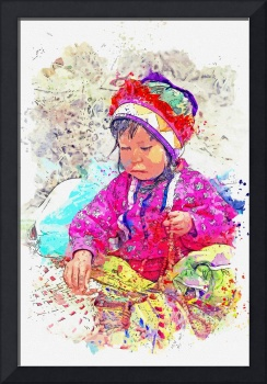 A native indian from Mexico watercolor by Ahmet As