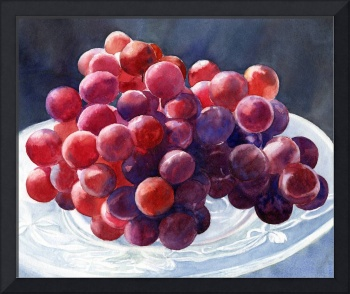 Red Grapes on a Plate with Dark Background