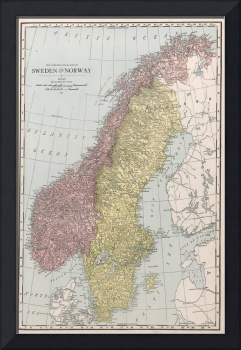 Vintage Map of Norway and Sweden (1912)