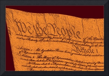 US Constitution Closeup Sculpture Red Brown Backgr