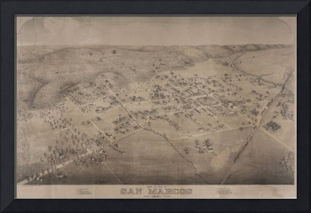 Vintage Pictorial Map of San Marcos Texas (1881)