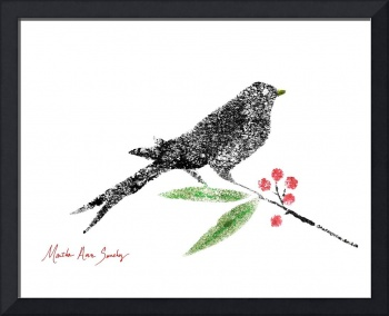 Decorative Black Bird and Red Berries on White L2