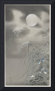 Grass and Flowers Under a Full Moon by Ohara Koson