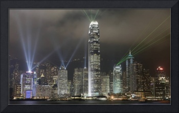 Hong Kong Light Show, At Night, Over Skyline Chin