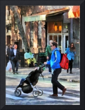Daddy Pushing Stroller Greenwich Village