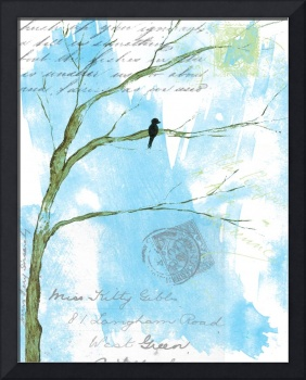 Letters From Home,Black Bird on Branch,Mixed Media