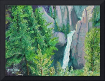 Yellowstone Waterfall Oil Painting