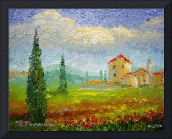 Tuscany Countryside with Poppies