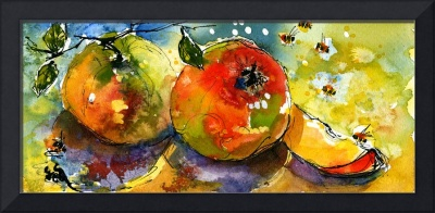 Apples & Bees Watercolor painting by Ginette