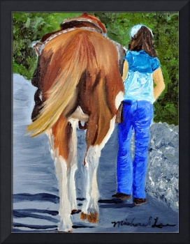 Girl Walking Her Horse