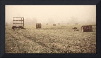 misty morning hayfield sepia