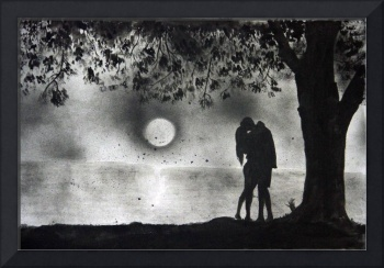 Lovers Kissing under tree
