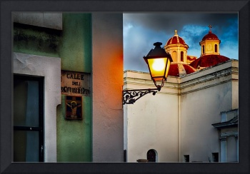 Old San Juan Street Corner with a Cathedral