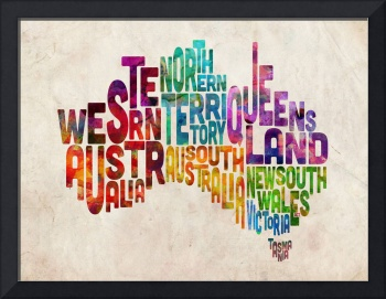 Australia Typographic Text Map