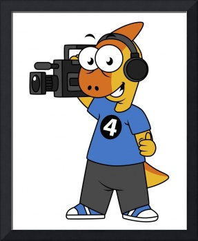 Illustration of a Parasaurolophus camera operator