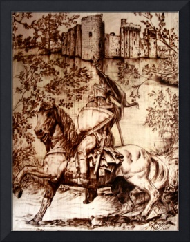 Medieval Knight Riding Steed to Castle