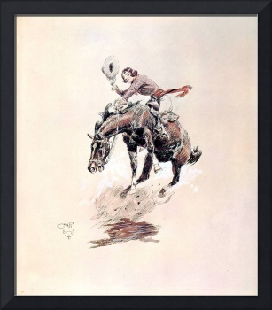 Bucking Horse and Cowgirl (c. 1925) by Russell
