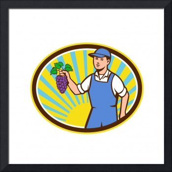 Organic Farmer Boy Holding Grapes Oval Retro