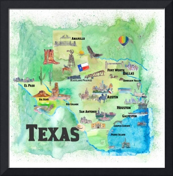USA Texas Travel Poster Map With Highlights
