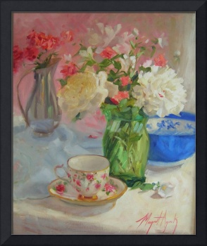 Peonies in a Sunny Window