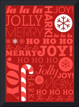 falala holiday card typeography red on dark red fl