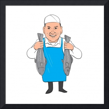 Fishmonger Holding Selling Fish Cartoon