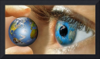 Reflection of a globe in a persons eye