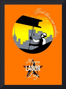 Steel Worker Happy Labor Day Greeting Card Poster