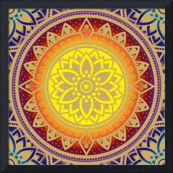 Infinite Light Mandala Gold Blue Purple Red Orange