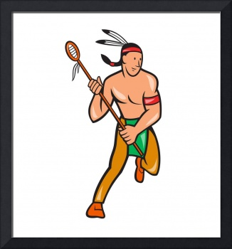 Native American Lacrosse Player Cartoon