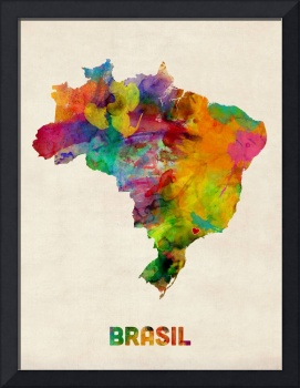 Brazil Watercolor Map Custom Heart