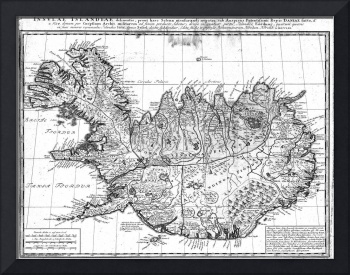 Vintage Map of Iceland (1761) BW