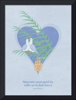 Love Doves On Palm Tree - Fresco