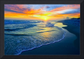 Yellow Sun Sunset Red and Blue Seascape Fine Art