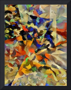 Abstract painting with geometric figures