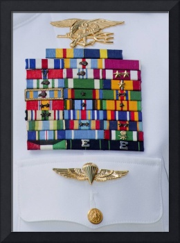 Close-up view of military decorations and honors o