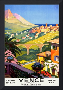 Vence Pres Nice Hiver Ete Vintage Travel Poster