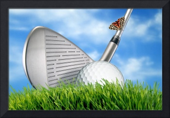 Golf club and ball on grass with sky with moth