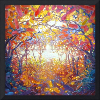clearing-in-an-autumn-wood-painting by Gill Bustam