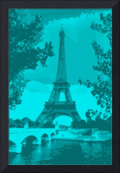 Eiffel Tower Seine River bridge Enhanced Blue