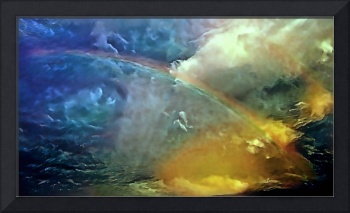 Rainbow over the ocean during a storm