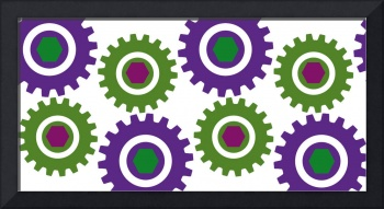 Retro Cogs Purple & Green