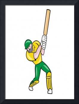 Cricket Player Batsman Batting Front Cartoon Isola