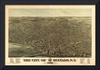 Vintage Pictorial Map of Buffalo NY (1880)